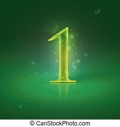 1. Green glowing number one