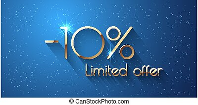 10 Percent Offer Background with golden shining numbers
