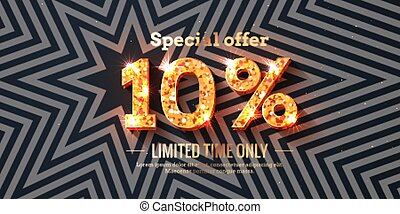 10 Percent Sale Background with golden glowing numbers