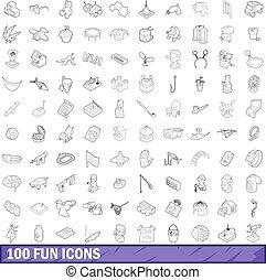 100 fun icons set, outline style