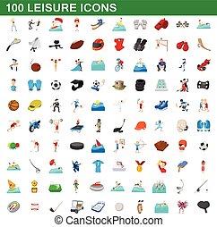 100 leisure icons set, cartoon style