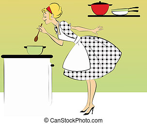 A cute woman in a 1950s outfit: a dress and an apron, cooking in her kitchen