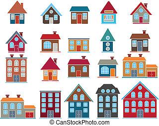 20 cute top buildings, vector