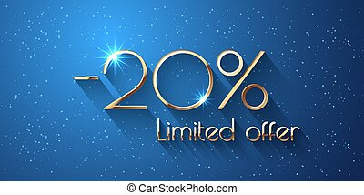 20 Percent Offer Background with golden shining numbers
