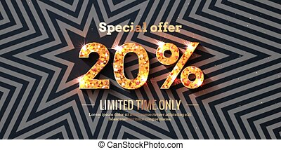 20 Percent Sale Background with golden glowing numbers