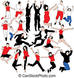20 Vector Jumping People Silhouette