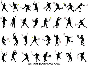 32 different tennis players silhouettes - vector