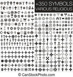 350 symbols vector various religious