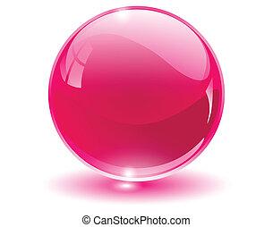 3D crystal, glass sphere, vector illustration.