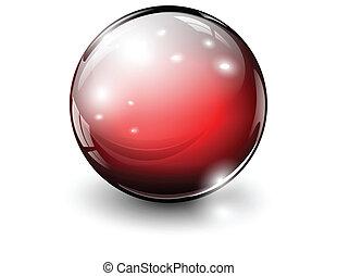 3D glass sphere, vector illustration.