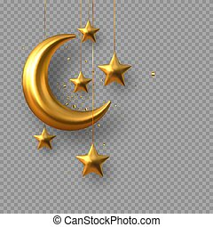 3d golden reflective crescent moons and stars.