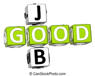 3D Good Job Crossword on white background