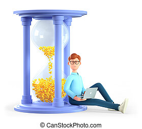 3D illustration of smiling man working on his laptop and sitting on a huge hourglass. Cute cartoon businessman hurrying up to complete tasks. Deadline, project time limit, task due dates.