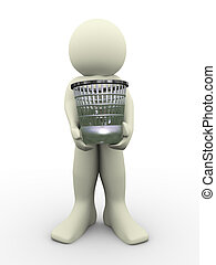 3d man carrying waste basket