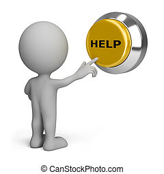 3d person pressing yellow the button help. 3d image. Isolated white background.