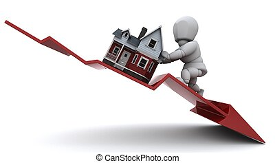 3D render of a Graph Depicting Declining Property Prices