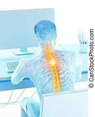 a man having a backache due to sitting