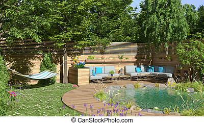 3d rendering of a garden with pond and a sitting area