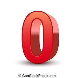 3d shiny red number 0 isolated white background