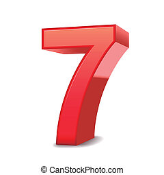 3d shiny red number 7 isolated white background