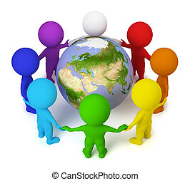 3d small people joined hands round the Earth. 3d image. Isolated white background.