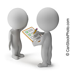 3d small people spend a survey. 3d image. Isolated white background.