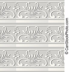 3D white paper art Spiral Curve Cross Plant Vine Flower