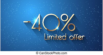 40 Percent Offer Background with golden shining numbers
