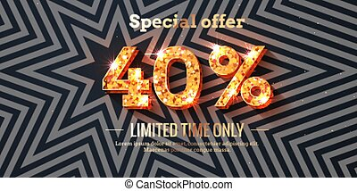 40 Percent Sale Background with golden glowing numbers
