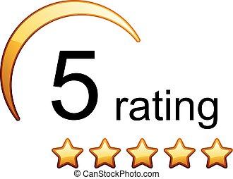 5 golden rating stars icon