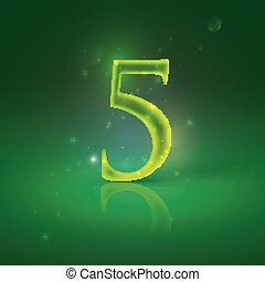 5. Green glowing number five