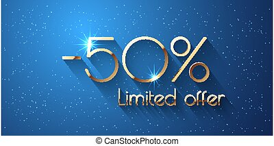 50 Percent Offer Background with golden shining numbers