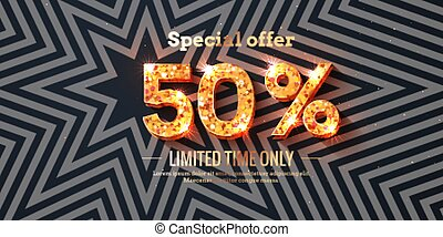 50 Percent Sale Background with golden glowing numbers