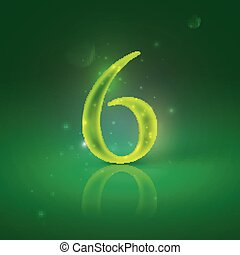 6. Green glowing number six