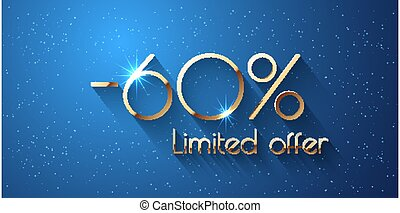 60 Percent Offer Background with golden shining numbers