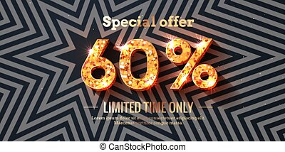 60 Percent Sale Background with golden glowing numbers