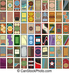 A collection of 60 retro business cards or calling cards in the style of 1930s and 1940s era bubble gum trading cards in vector format.
