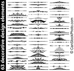 63 decorative design elements set