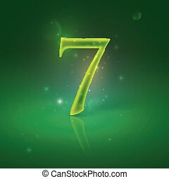 7. Green glowing number seven
