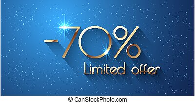 70 Percent Offer Background with golden shining numbers