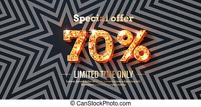 70 Percent Sale Background with golden glowing numbers
