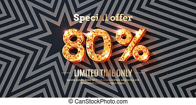 80 Percent Sale Background with golden glowing numbers