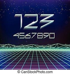 80s Retro Futurism Geometric Numbers