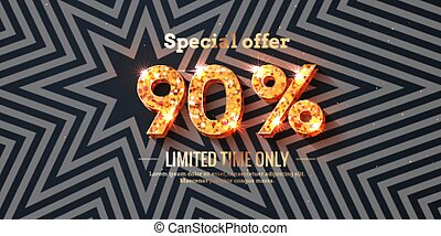 90 Percent Sale Background with golden glowing numbers