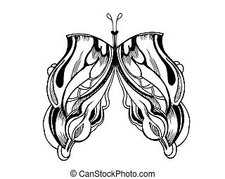 a abstract graphic design butterfly in black and white