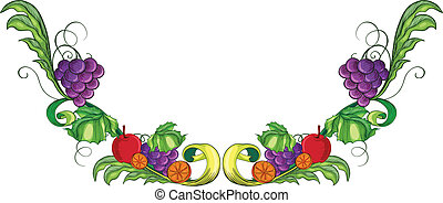 A border with different fruits