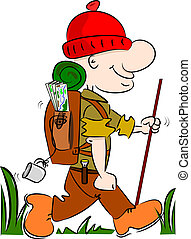A cartoon hiker
