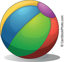 Illustration of a colorful beach ball on a white background