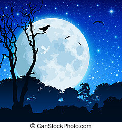 Forest Landscape with Moon