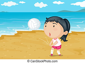 A girl playing ball on a beach